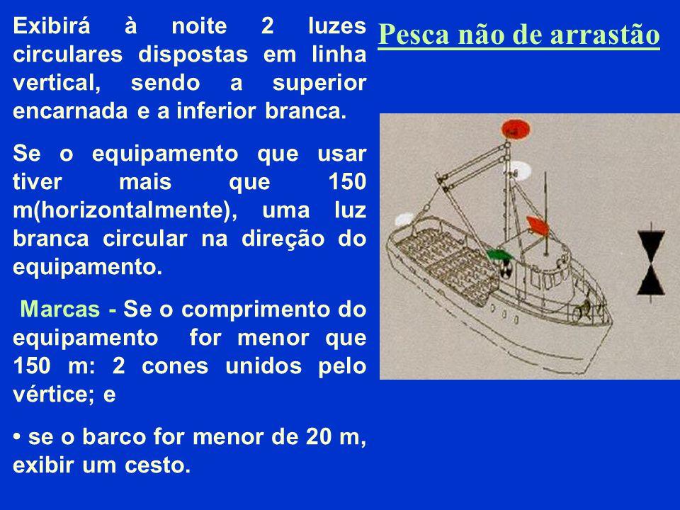 Pesca de arrastão 2 luzes circulares dispostas em linha vertical, sendo a superior verde e a inferior branca; 1 luz branca de mastro por ante-a-vante