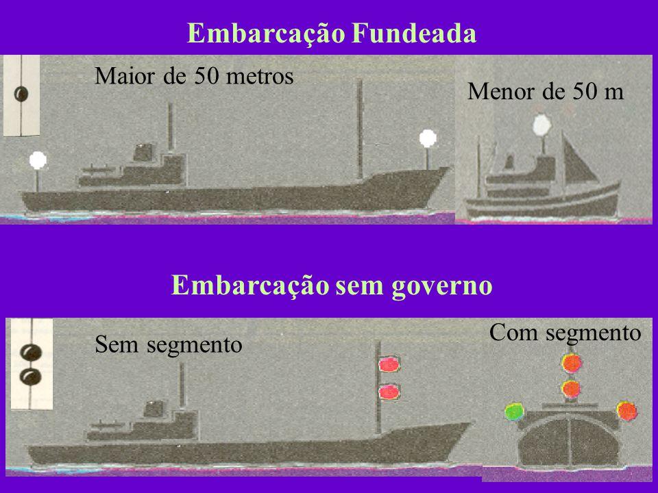 Pesca não de arrastão Exibirá à noite 2 luzes circulares dispostas em linha vertical, sendo a superior encarnada e a inferior branca. Se o equipamento