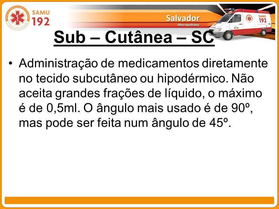Sub – Cutânea – SC Administração de medicamentos diretamente no tecido subcutâneo ou hipodérmico. Não aceita grandes frações de líquido, o máximo é de