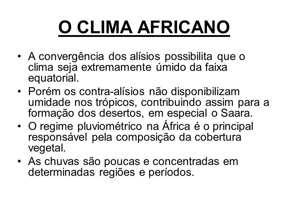 O CLIMA AFRICANO A convergência dos alísios possibilita que o clima seja extremamente úmido da faixa equatorial. Porém os contra-alísios não disponibi