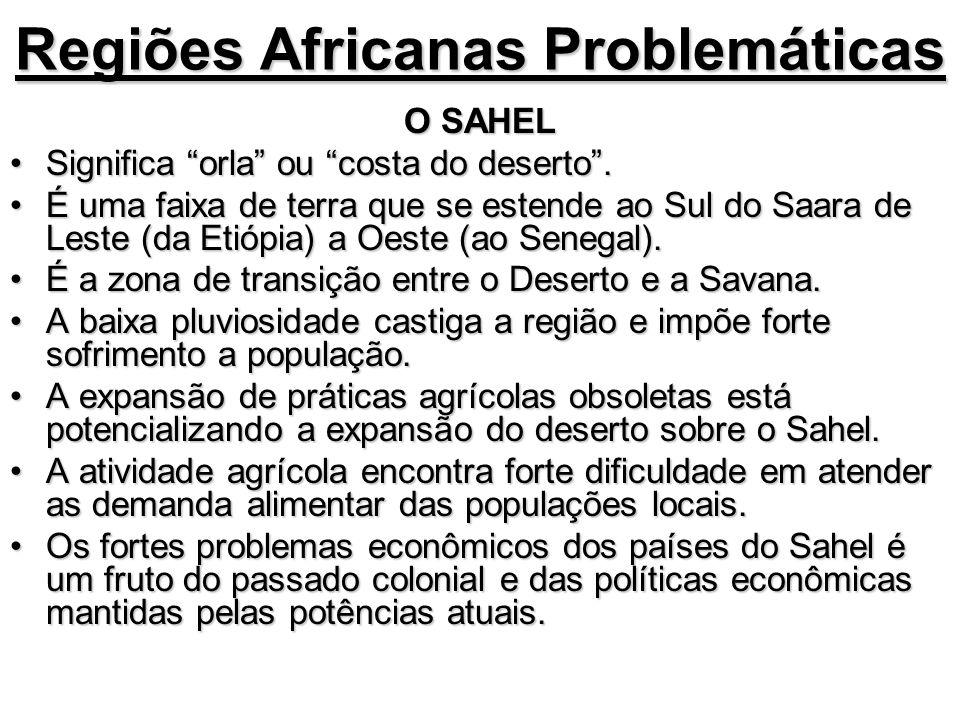 Regiões Africanas Problemáticas O SAHEL Significa orla ou costa do deserto.Significa orla ou costa do deserto. É uma faixa de terra que se estende ao