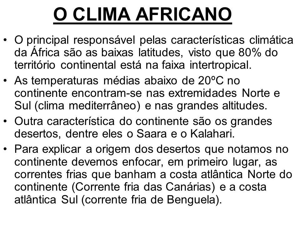 O CLIMA AFRICANO O principal responsável pelas características climática da África são as baixas latitudes, visto que 80% do território continental es