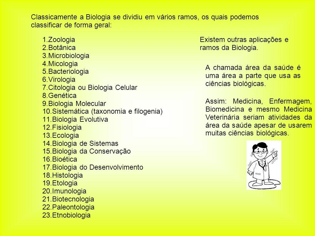 Classicamente a Biologia se dividiu em vários ramos, os quais podemos classificar de forma geral: 1.Zoologia 2.Botânica 3.Microbiologia 4.Micologia 5.