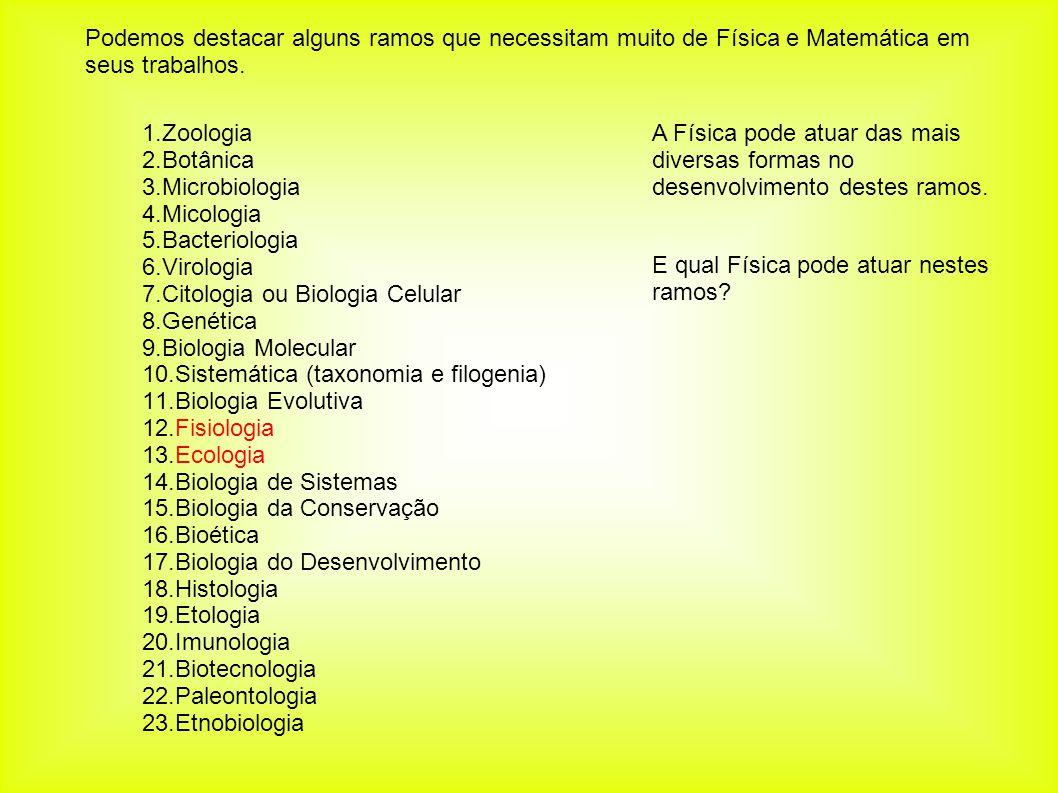 Podemos destacar alguns ramos que necessitam muito de Física e Matemática em seus trabalhos. 1.Zoologia 2.Botânica 3.Microbiologia 4.Micologia 5.Bacte