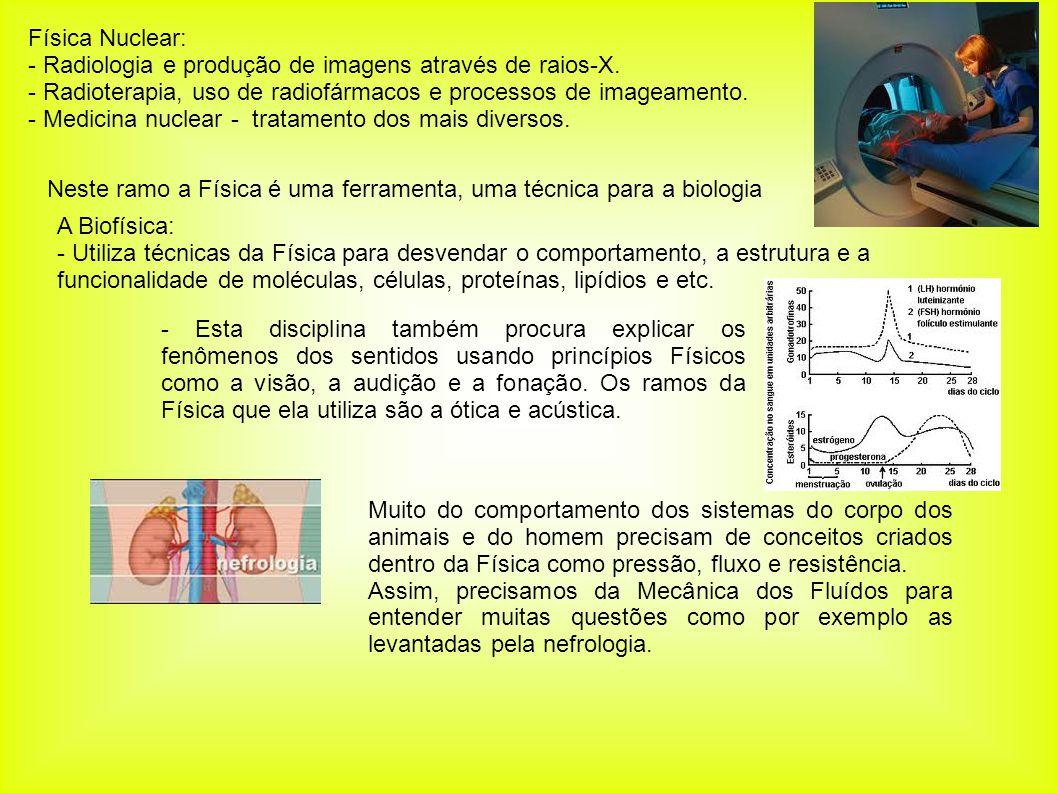 Física Nuclear: - Radiologia e produção de imagens através de raios-X. - Radioterapia, uso de radiofármacos e processos de imageamento. - Medicina nuc