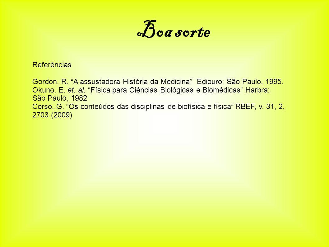 Referências Gordon, R. A assustadora História da Medicina Ediouro: São Paulo, 1995. Okuno, E. et. al. Física para Ciências Biológicas e Biomédicas Har