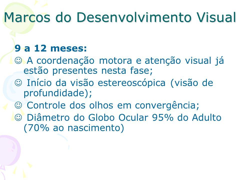 Marcos do Desenvolvimento Visual 9 a 12 meses: A coordenação motora e atenção visual já estão presentes nesta fase; Início da visão estereoscópica (visão de profundidade); Controle dos olhos em convergência; Diâmetro do Globo Ocular 95% do Adulto (70% ao nascimento)