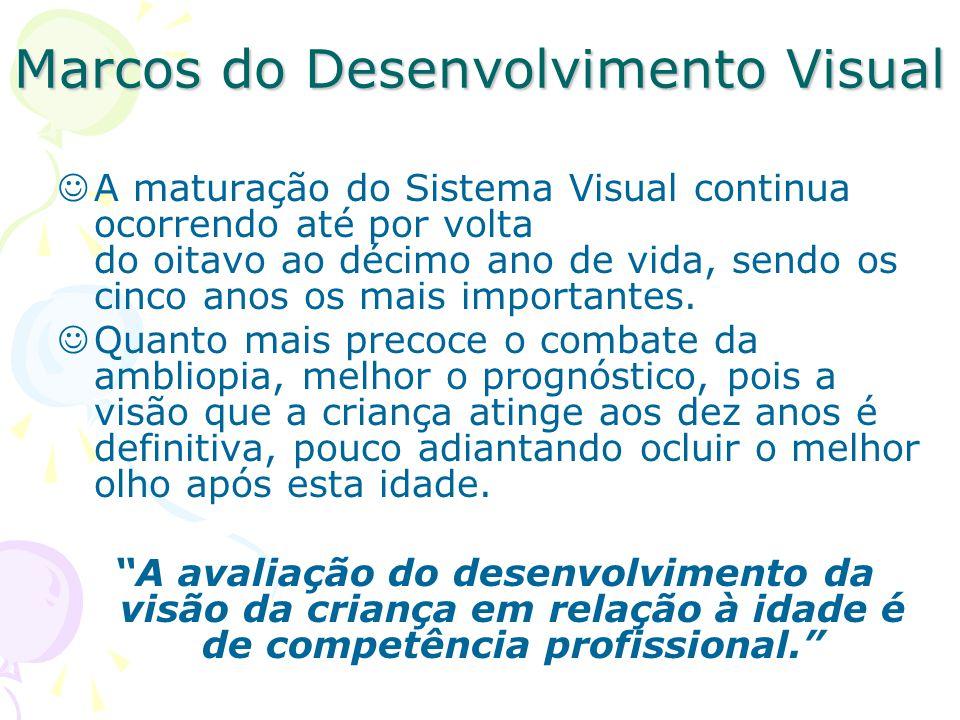 Marcos do Desenvolvimento Visual A maturação do Sistema Visual continua ocorrendo até por volta do oitavo ao décimo ano de vida, sendo os cinco anos os mais importantes.