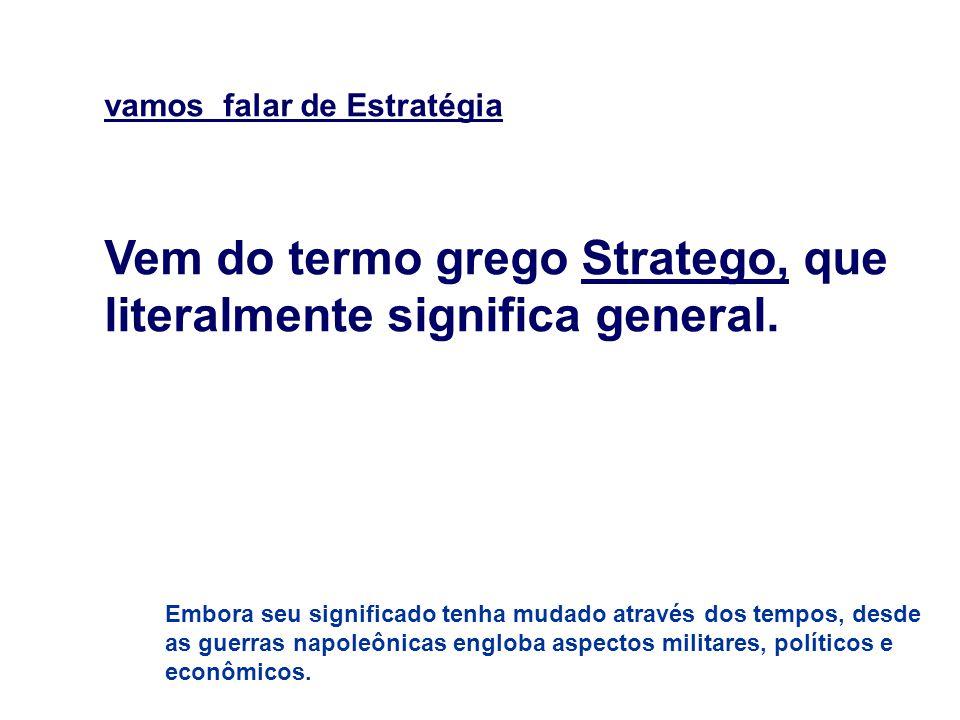 vamos falar de Estratégia Vem do termo grego Stratego, que literalmente significa general. Embora seu significado tenha mudado através dos tempos, des