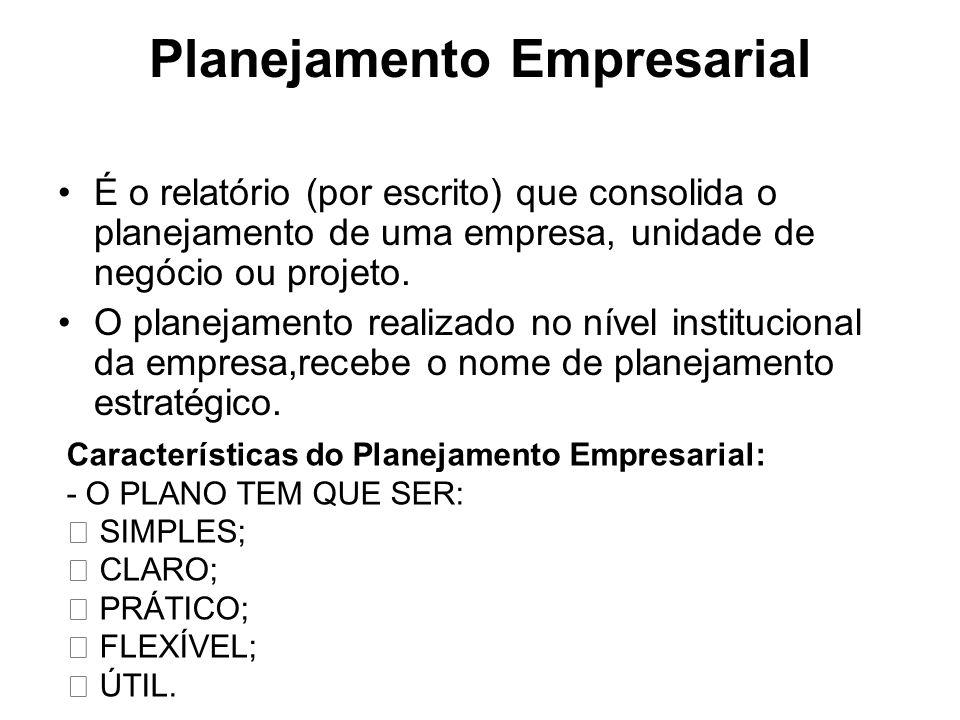 Planejamento Empresarial É o relatório (por escrito) que consolida o planejamento de uma empresa, unidade de negócio ou projeto. O planejamento realiz