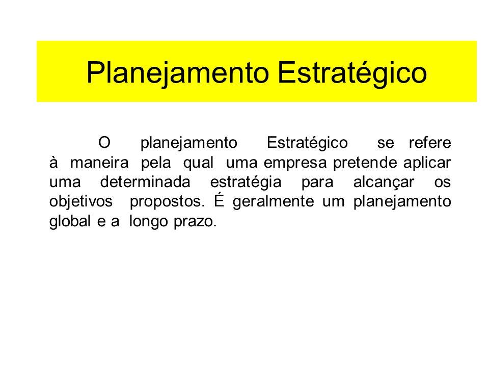 Planejamento Estratégico O planejamento Estratégico se refere à maneira pela qual uma empresa pretende aplicar uma determinada estratégia para alcança