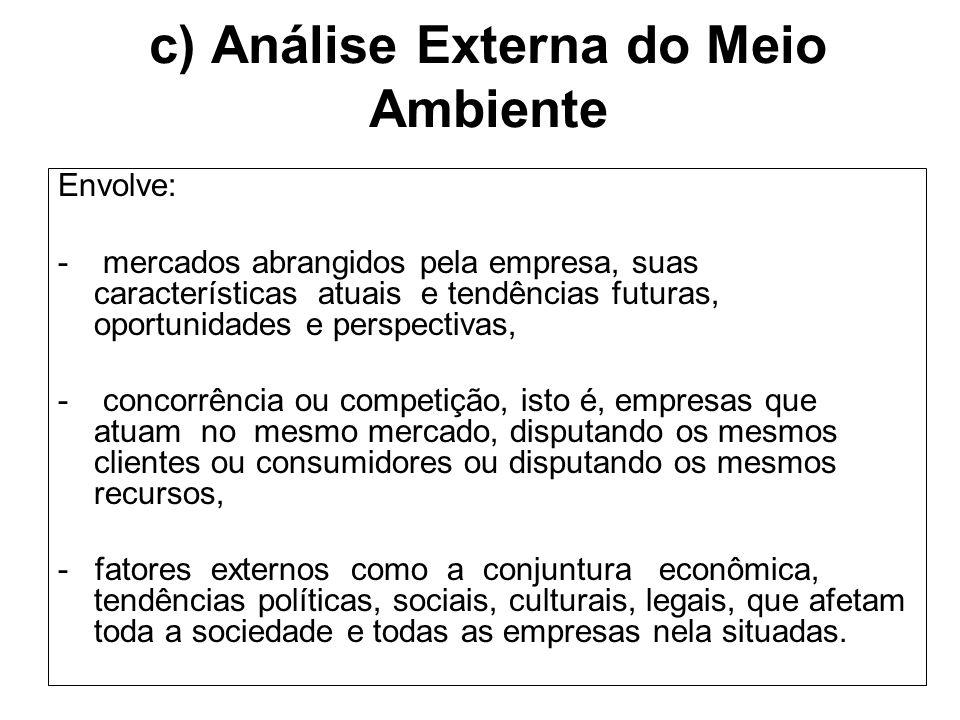 c) Análise Externa do Meio Ambiente Envolve: - mercados abrangidos pela empresa, suas características atuais e tendências futuras, oportunidades e per