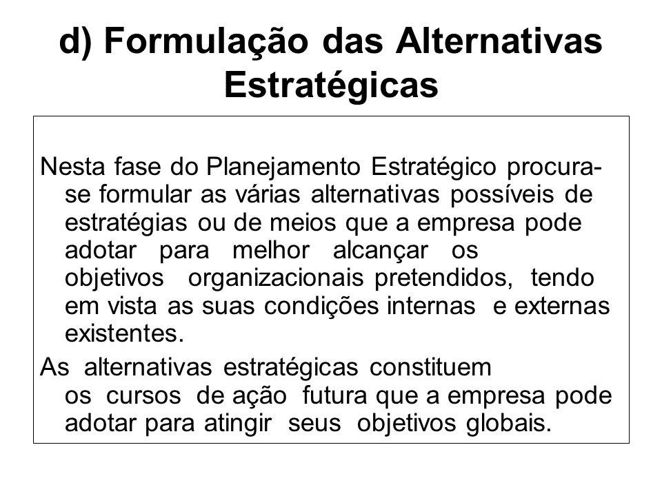 d) Formulação das Alternativas Estratégicas Nesta fase do Planejamento Estratégico procura- se formular as várias alternativas possíveis de estratégia