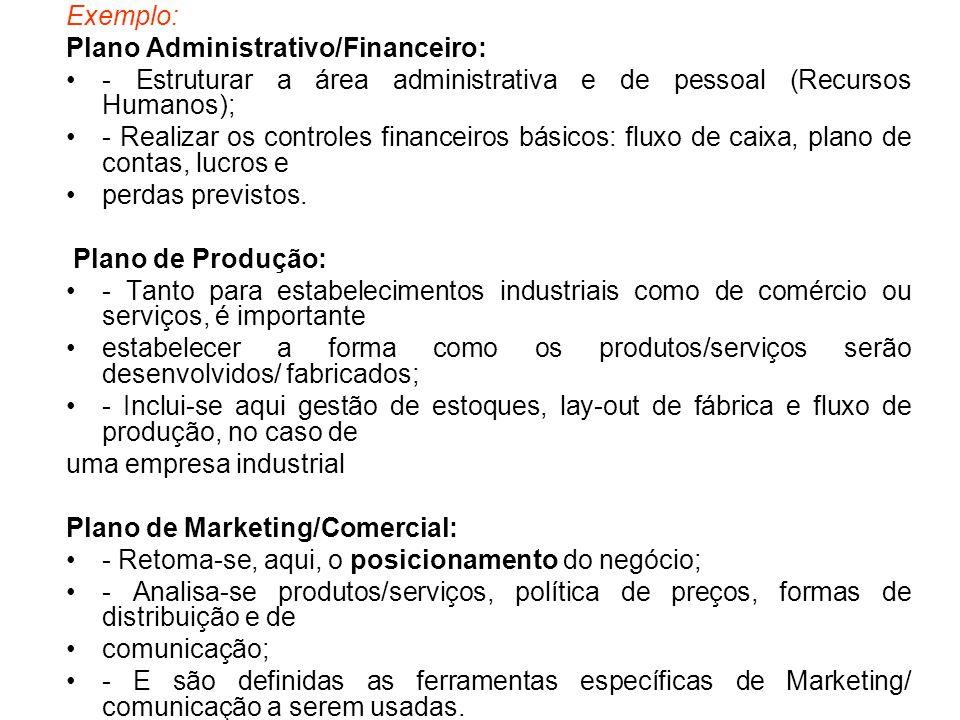 Exemplo: Plano Administrativo/Financeiro: - Estruturar a área administrativa e de pessoal (Recursos Humanos); - Realizar os controles financeiros bási