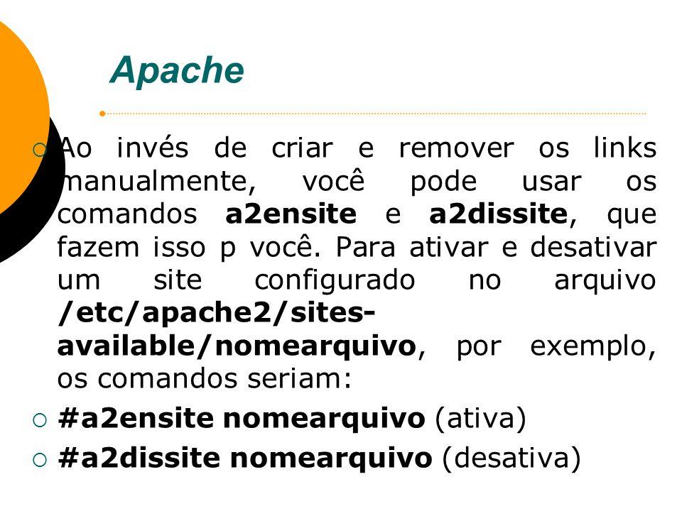 Apache Ao invés de criar e remover os links manualmente, você pode usar os comandos a2ensite e a2dissite, que fazem isso p você. Para ativar e desativ