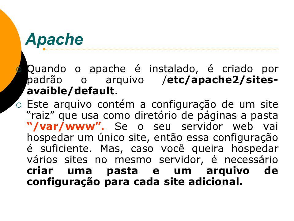 Apache Quando o apache é instalado, é criado por padrão o arquivo /etc/apache2/sites- avaible/default. Este arquivo contém a configuração de um site r