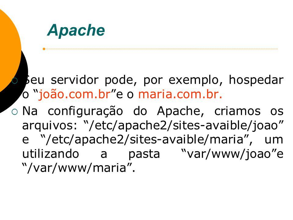 Apache Seu servidor pode, por exemplo, hospedar o joão.com.bre o maria.com.br. Na configuração do Apache, criamos os arquivos: /etc/apache2/sites-avai