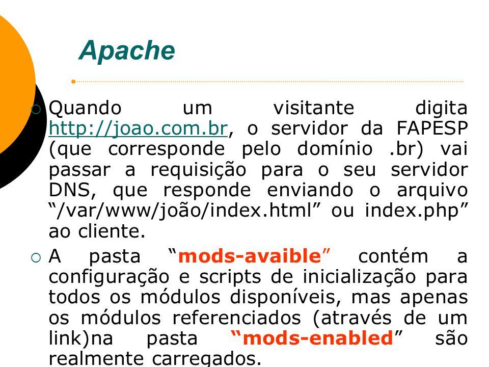 Apache Quando um visitante digita http://joao.com.br, o servidor da FAPESP (que corresponde pelo domínio.br) vai passar a requisição para o seu servid