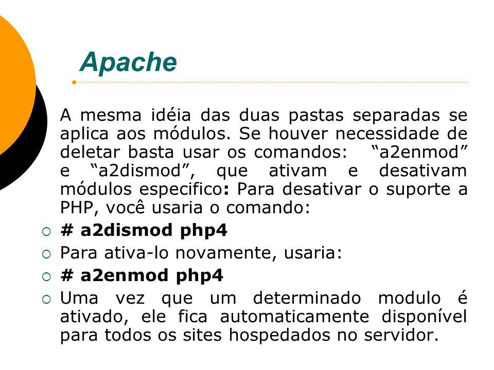 Apache A mesma idéia das duas pastas separadas se aplica aos módulos. Se houver necessidade de deletar basta usar os comandos: a2enmod e a2dismod, que