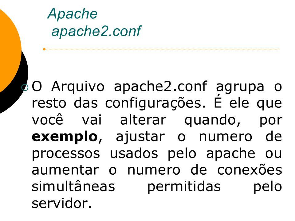 Apache apache2.conf O Arquivo apache2.conf agrupa o resto das configurações. É ele que você vai alterar quando, por exemplo, ajustar o numero de proce