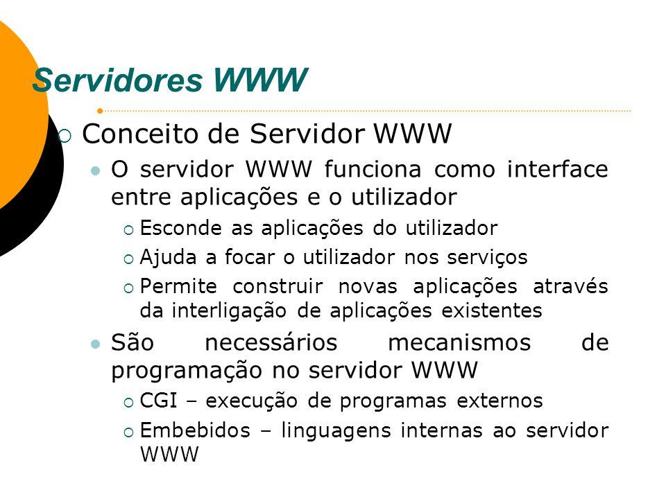 Servidores WWW Conceito de Servidor WWW O servidor WWW funciona como interface entre aplicações e o utilizador Esconde as aplicações do utilizador Aju