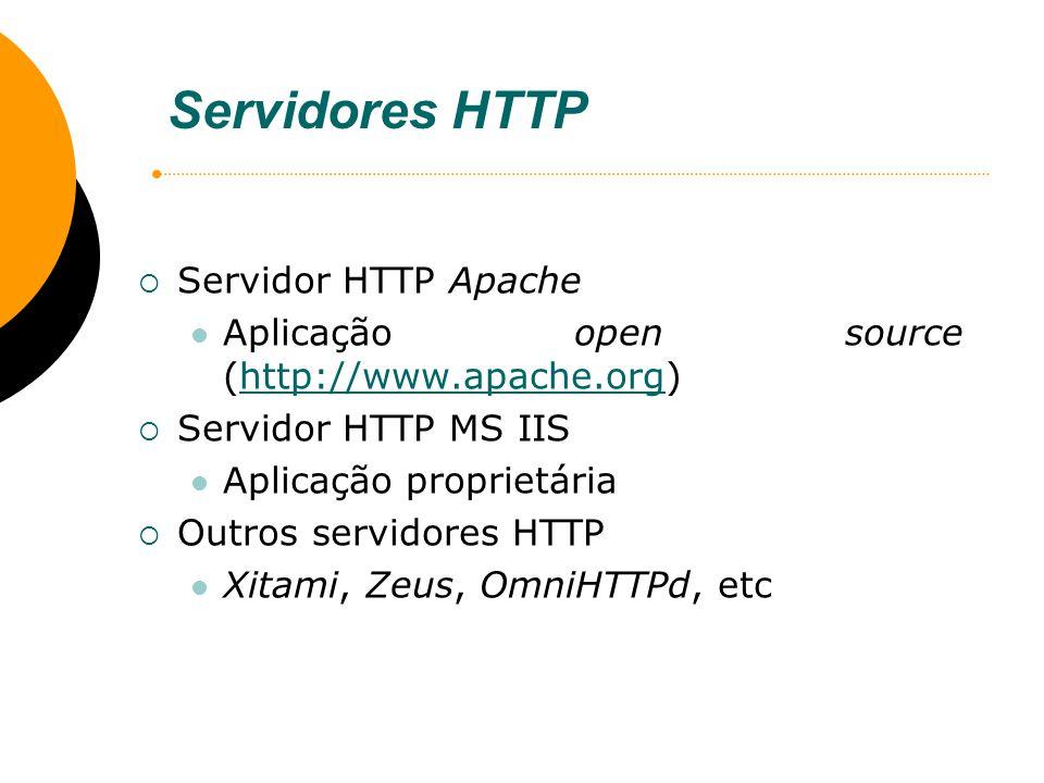 Servidores HTTP Servidor HTTP Apache Aplicação open source (http://www.apache.org)http://www.apache.org Servidor HTTP MS IIS Aplicação proprietária Ou