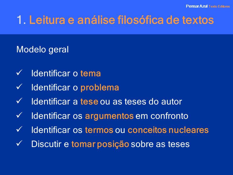 Pensar Azul Texto Editores Modelo geral Pensar Azul Texto Editores 1. Leitura e análise filosófica de textos Identificar o tema Identificar o problema