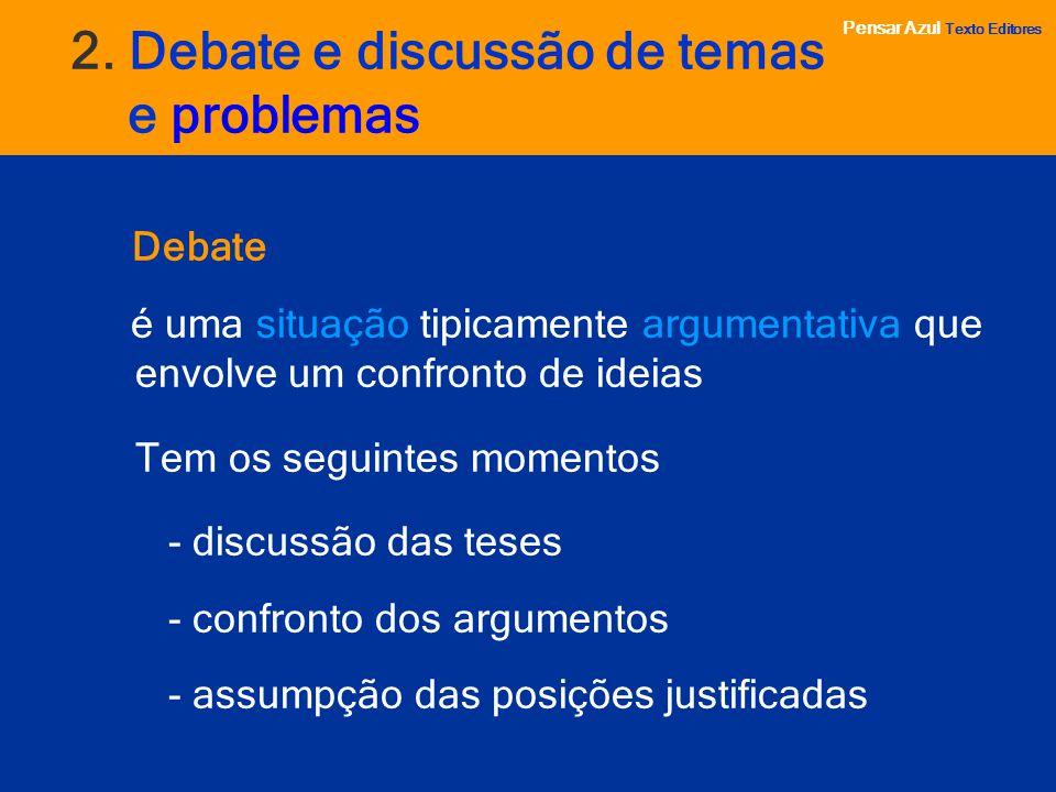 Pensar Azul Texto Editores 2. Debate e discussão de temas e problemas Debate é uma situação tipicamente argumentativa que envolve um confronto de idei