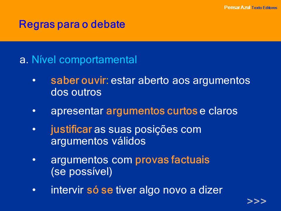 Pensar Azul Texto Editores a. Nível comportamental saber ouvir: estar aberto aos argumentos dos outros apresentar argumentos curtos e claros justifica