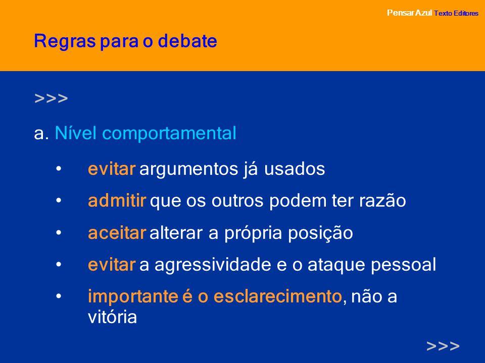 Pensar Azul Texto Editores a. Nível comportamental Pensar Azul Texto Editores Regras para o debate evitar argumentos já usados admitir que os outros p