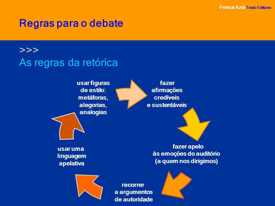 Pensar Azul Texto Editores As regras da retórica Pensar Azul Texto Editores Regras para o debate >>> fazer afirmações credíveis e sustentáveis fazer a
