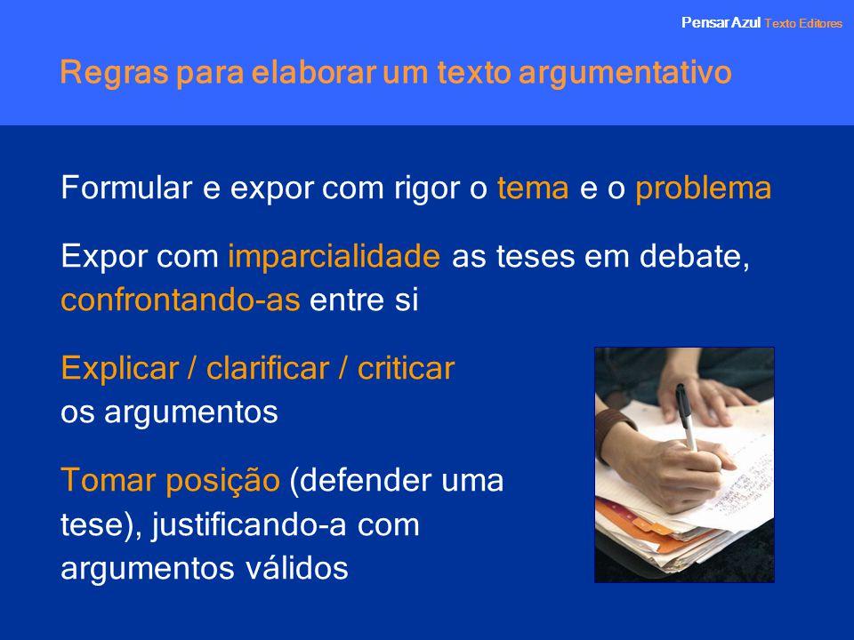 Pensar Azul Texto Editores Regras para elaborar um texto argumentativo Formular e expor com rigor o tema e o problema Expor com imparcialidade as tese