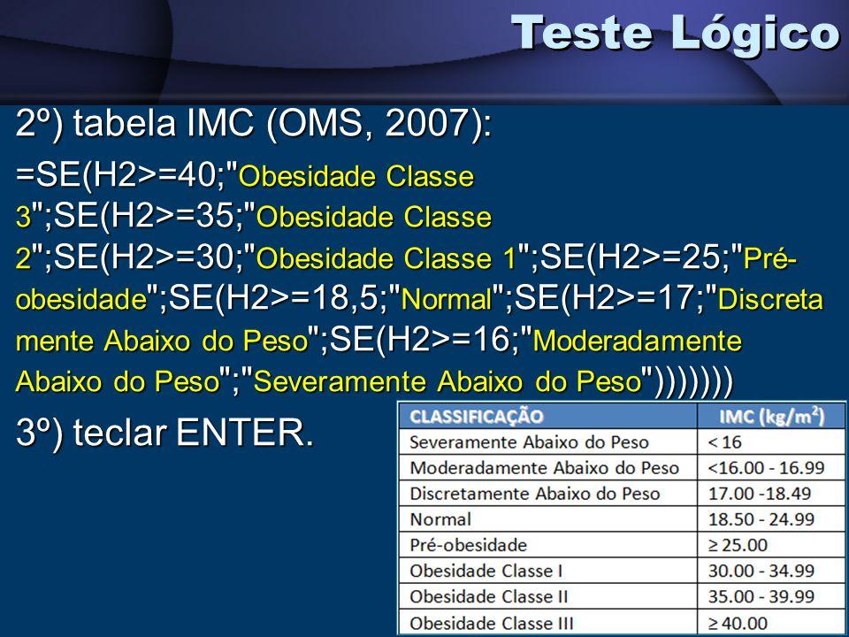 Teste Lógico 2º) tabela IMC (OMS, 2007): =SE(H2>=40;
