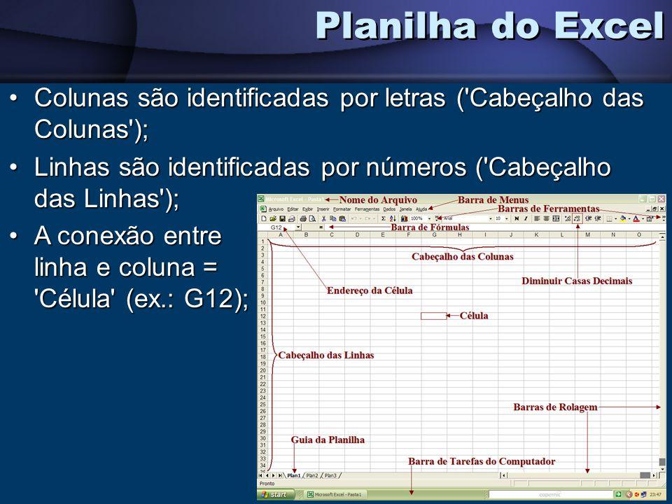 Colunas são identificadas por letras ('Cabeçalho das Colunas');Colunas são identificadas por letras ('Cabeçalho das Colunas'); Linhas são identificada