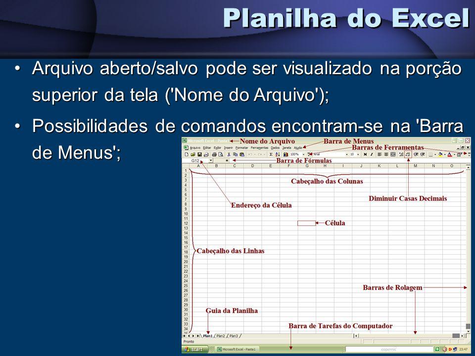Arquivo aberto/salvo pode ser visualizado na porção superior da tela ('Nome do Arquivo');Arquivo aberto/salvo pode ser visualizado na porção superior