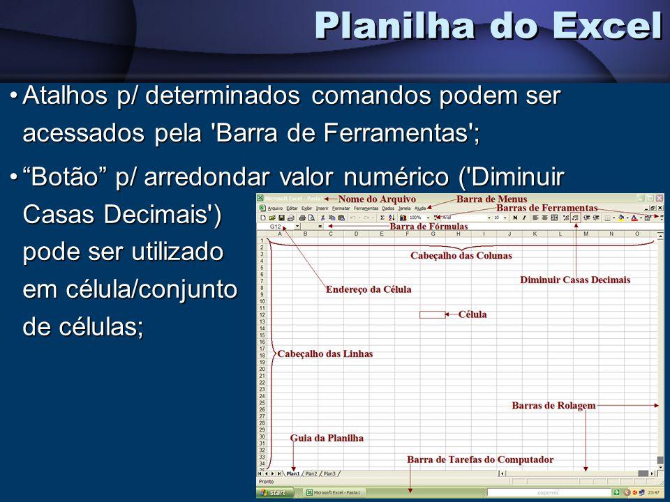Atalhos p/ determinados comandos podem ser acessados pela 'Barra de Ferramentas';Atalhos p/ determinados comandos podem ser acessados pela 'Barra de F