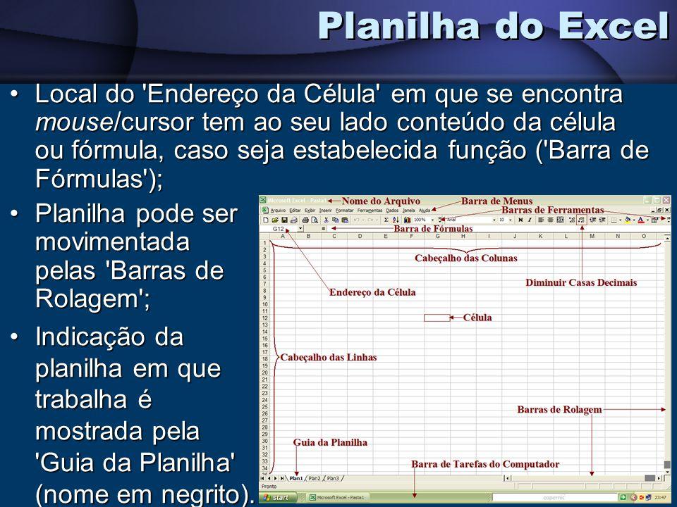 Local do 'Endereço da Célula' em que se encontra mouse/cursor tem ao seu lado conteúdo da célula ou fórmula, caso seja estabelecida função ('Barra de