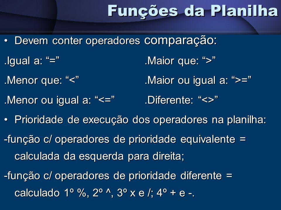 Devem conter operadores comparação:Devem conter operadores comparação:.Igual a: =.Maior que: >.Menor que: =.Menor ou igual a:.Menor ou igual a: Priori