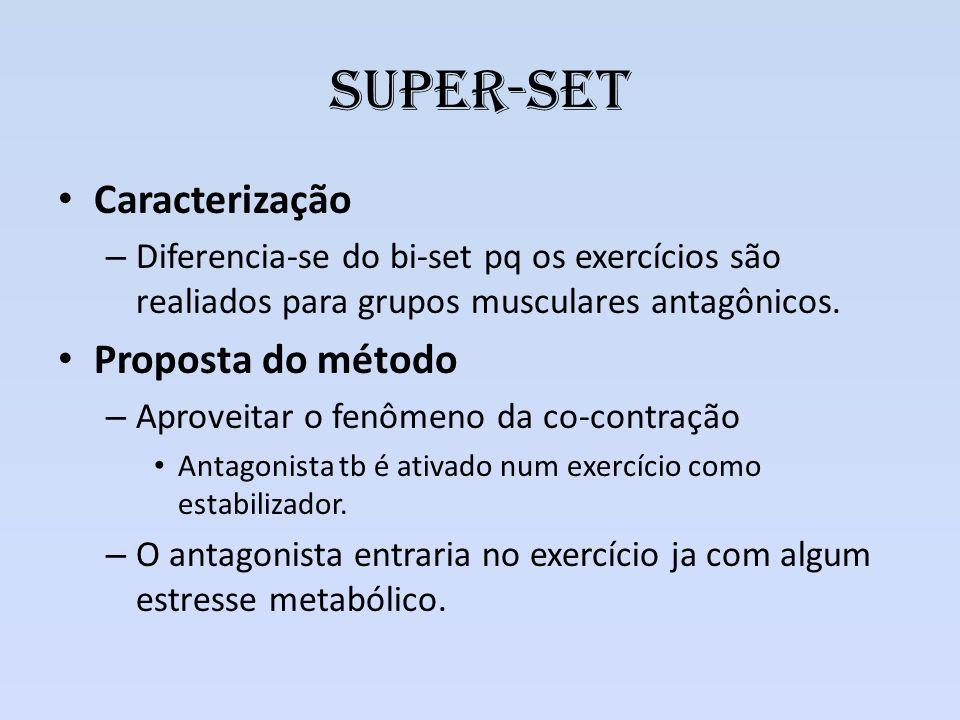Super-set Caracterização – Diferencia-se do bi-set pq os exercícios são realiados para grupos musculares antagônicos. Proposta do método – Aproveitar