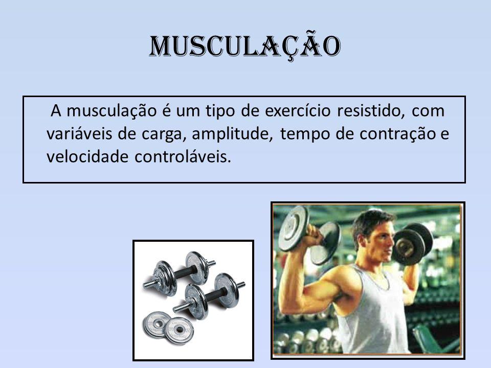 Musculação A musculação é um tipo de exercício resistido, com variáveis de carga, amplitude, tempo de contração e velocidade controláveis.