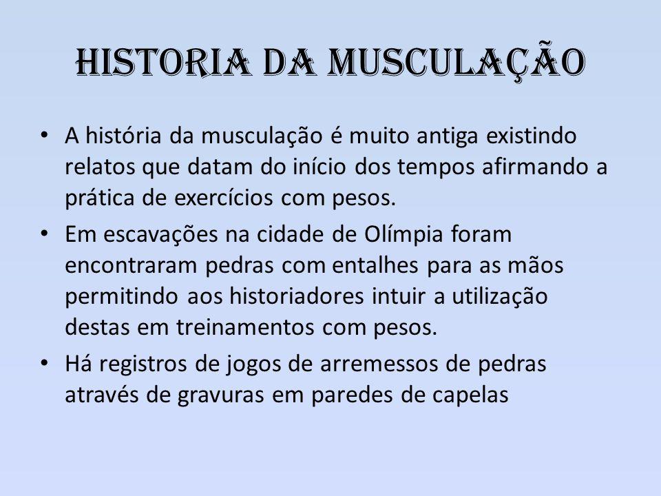Historia da Musculação A história da musculação é muito antiga existindo relatos que datam do início dos tempos afirmando a prática de exercícios com
