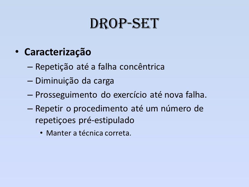Drop-set Caracterização – Repetição até a falha concêntrica – Diminuição da carga – Prosseguimento do exercício até nova falha. – Repetir o procedimen