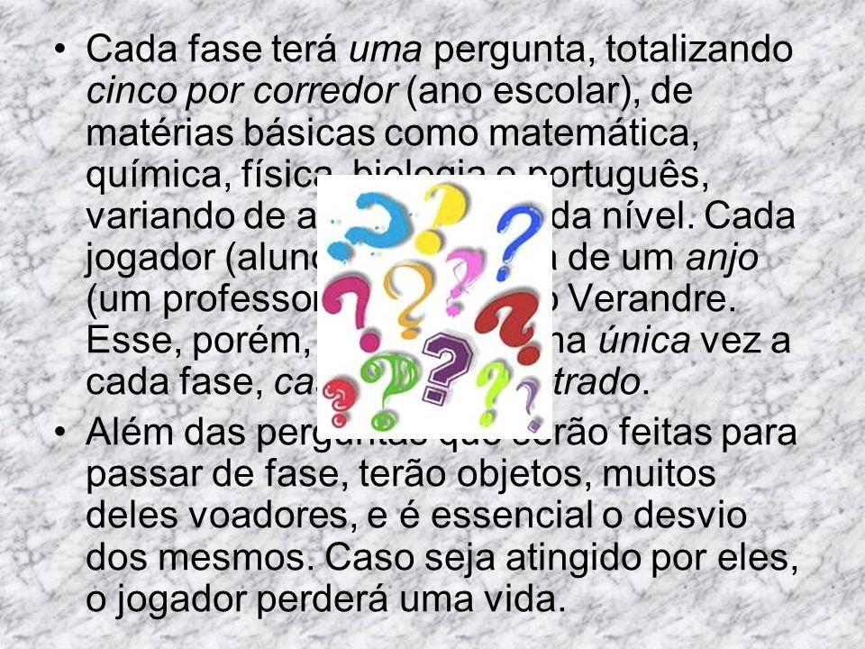 Cada fase terá uma pergunta, totalizando cinco por corredor (ano escolar), de matérias básicas como matemática, química, física, biologia e português,