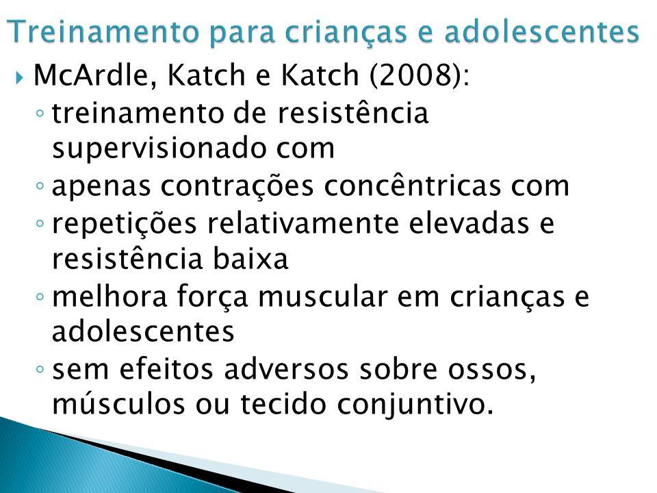 McArdle, Katch e Katch (2008): treinamento de resistência supervisionado com apenas contrações concêntricas com repetições relativamente elevadas e resistência baixa melhora força muscular em crianças e adolescentes sem efeitos adversos sobre ossos, músculos ou tecido conjuntivo.