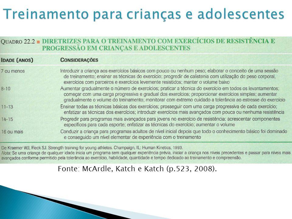Fonte: McArdle, Katch e Katch (p.523, 2008).