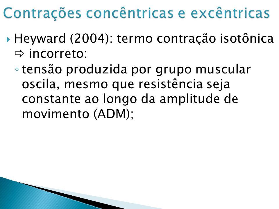 Contrações dinâmicas (Heyward, 2004) movimento articular visível = concêntricas, excêntricas ou isocinéticas; Contração excêntrica (Heyward, p.108, 2004): força dos flexores do joelho é máxima entre 160º e 170º.