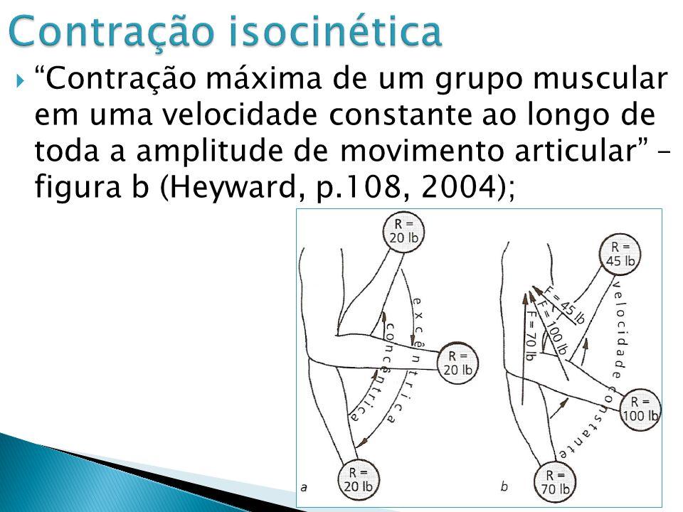 Contração máxima de um grupo muscular em uma velocidade constante ao longo de toda a amplitude de movimento articular – figura b (Heyward, p.108, 2004);