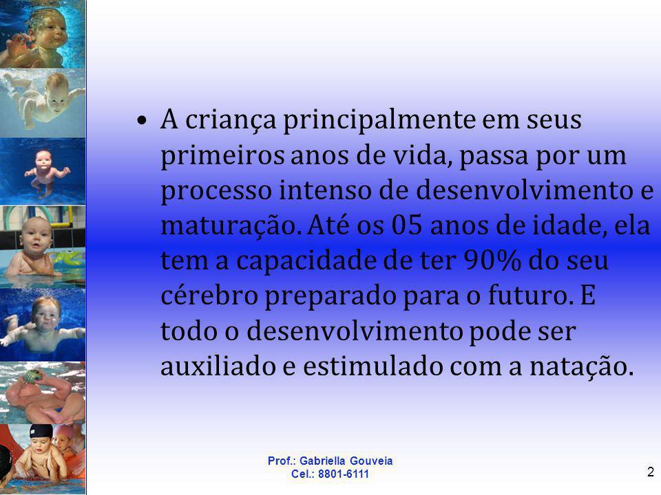 Prof.: Gabriella Gouveia Cel.: 8801-6111 2 A criança principalmente em seus primeiros anos de vida, passa por um processo intenso de desenvolvimento e
