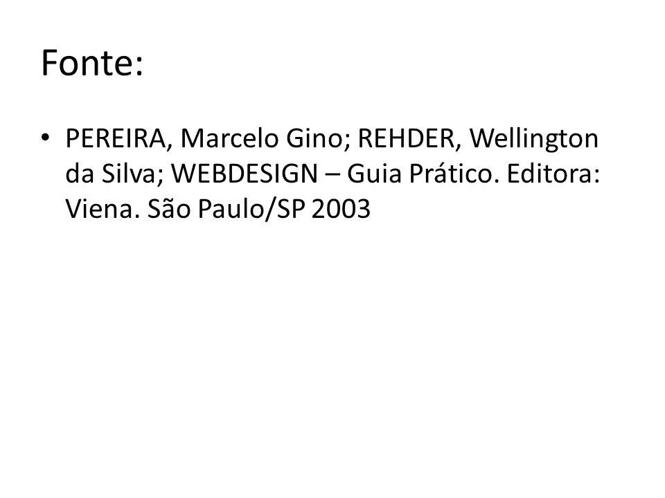 Fonte: PEREIRA, Marcelo Gino; REHDER, Wellington da Silva; WEBDESIGN – Guia Prático. Editora: Viena. São Paulo/SP 2003