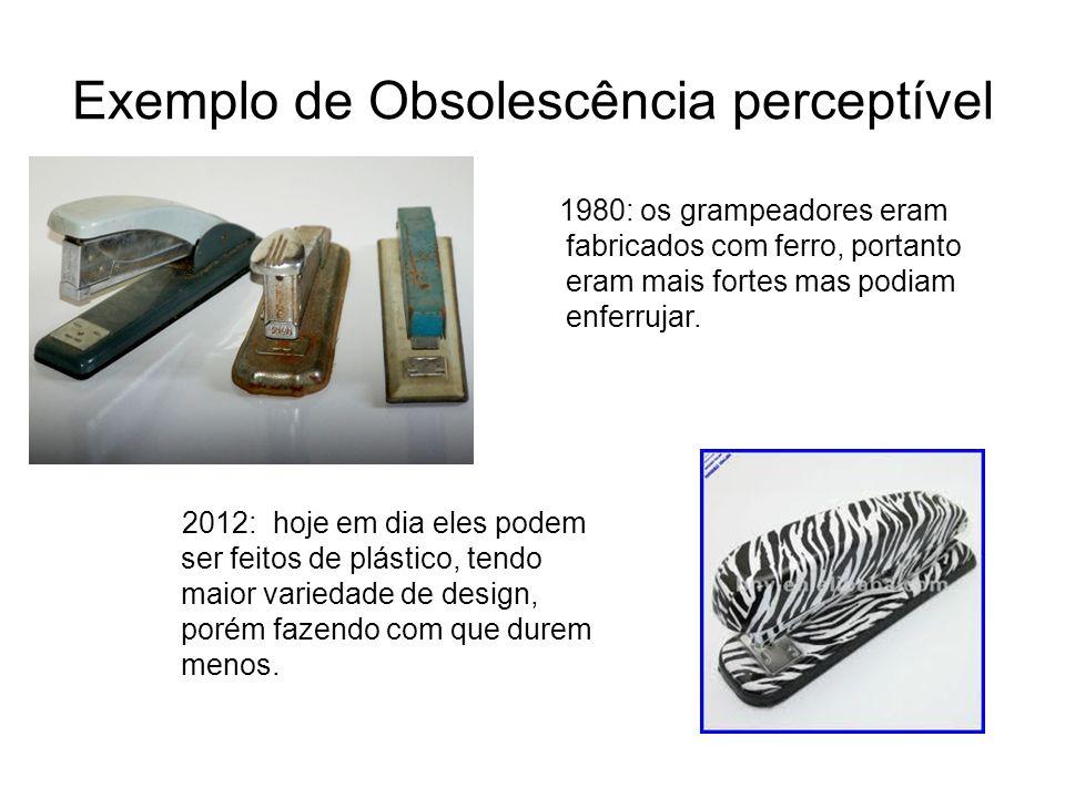 Exemplo de Obsolescência perceptível 1980: os grampeadores eram fabricados com ferro, portanto eram mais fortes mas podiam enferrujar. 2012: hoje em d